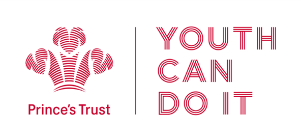 """Image reads: """"Prince's Trust - YOUTH CAN DO IT"""" in red lettering featuring the Prince's trust emblem"""