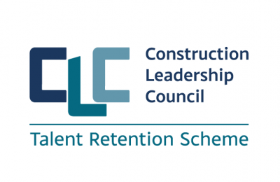 "the logo reads ""Construction Leadership Council"" and underneath reads ""Talent Retention Scheme"""
