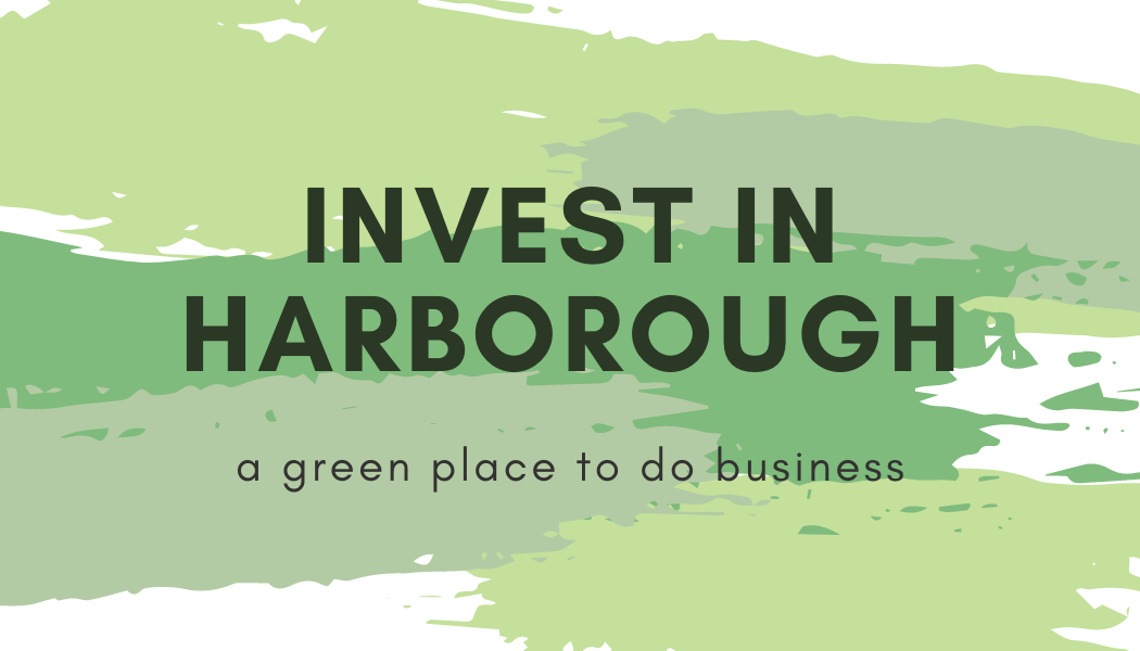 Invest in Harborough, a green place to do business, logo